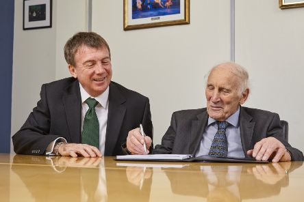 Dr Keith Howard (right) founder and owner of Emerald Group with Richard Bevan, group chairman