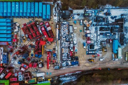 An aerial picture of a proposed fracking site at Kirby Misperton.