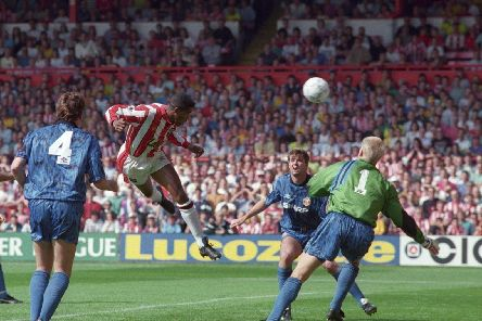 Brian Deane scores the first-ever Premier League goal