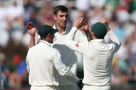 LATER: Duanne Olivier, seen celebrating a wicket in the recent Test series with Pakistan, will not now be eligible for his country after signing a three-year Kolpak deal with Yorkshire. Picture: Shaun Roy/Getty Images