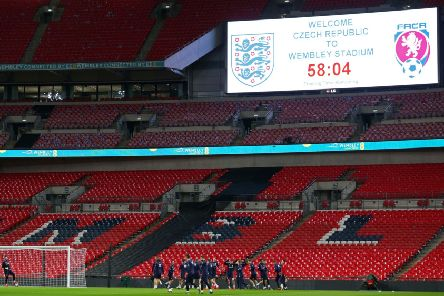 The Czech Republic team during the training session at Wembley Stadium.