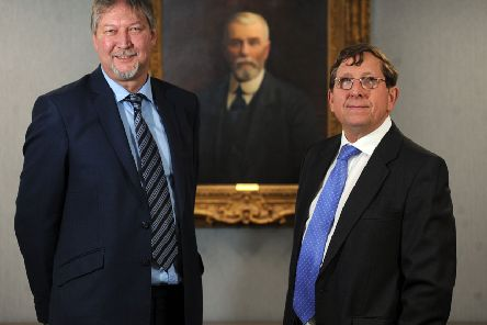 14 Dec 2017...........John Sutcliffe CEO and Jamie Boot Chairman of Henry Boot Construction with a portrait of founder Henry Boot in the background. Picture Scott Merrylees