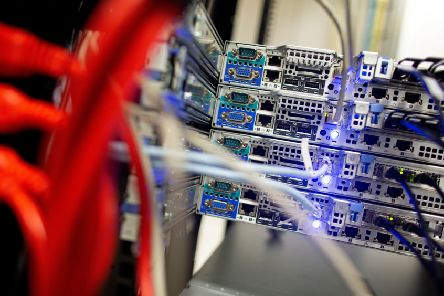 Cables link servers (Photo credit PAUL FAITH/AFP/Getty Images)