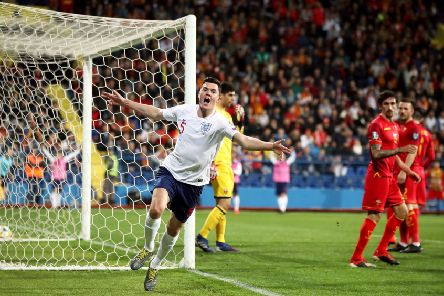 England trailed against Montenegro in Podgorica on Monday night but Michael Keane, above, equalised and then they cruised to a 5-1 win (Picture: Nick Potts/PA Wire).