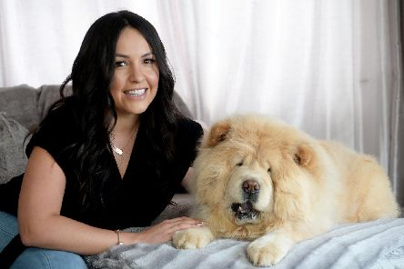 Nicki Dyson and her beloved chow Narla.