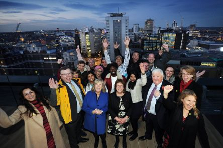 Winning bid: The bid team to bring Channel 4 to Leeds celebrates. Ewan Douglas said the 'coherent' bid was a key factor in broadcaster's decision to move to the city.         Picture: Simon Hulme