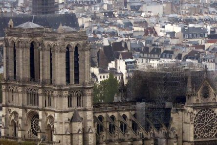 An aerial picture of the fire-ravaged Notre Dame cathedral.