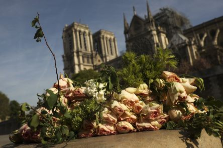 A bunch of flowers place near the Notre-Dame cathedral in France.