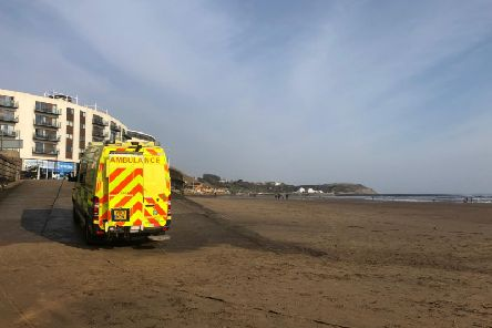 Yorkshire Ambulance Service at Scarborough's north bay.