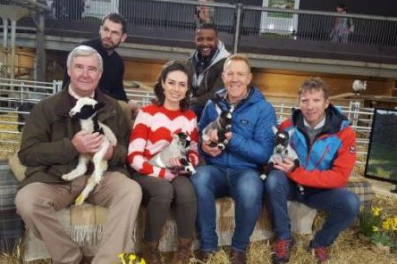 Yorkshire Vet Julian Norton pictured with co-stars for Channel Five's Springtime On The Farm.