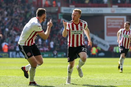 Mark Duffy of Sheffield United celebrates scoring the opening goal of the game during the Sky Bet Championship match at Bramall Lane, Sheffield. Picture: James Wilson/Sportimage