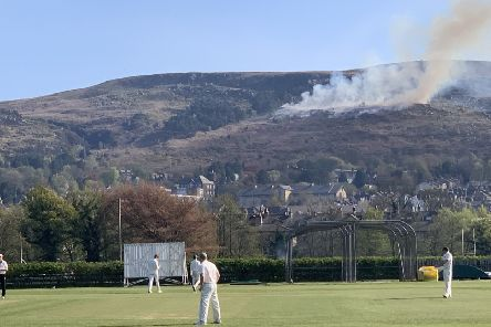 This photo illustrates the proximity of the moorland fire to Ilkley.