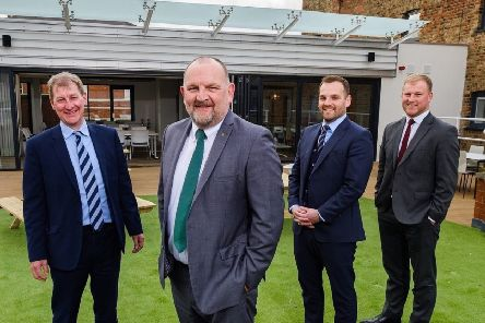 Kingston Upon Hull, East Yorkshire, United Kingdom, 18 March, 2019. Pictured: LtoR David Donkin, Mike Rice, James Rice, John Gouldthorp at the new Hugh Rice offices