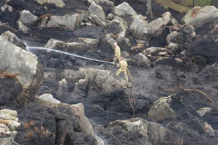 Fire crews damping down after the Ilkley Moor fires. (Photo: West Yorkshire Fire and Rescue Service).