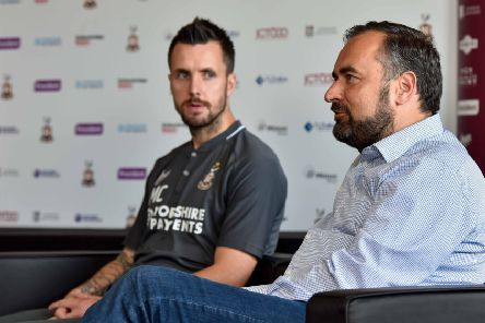 Hasty appointment: Bradford City's Michael Collins, left, and  Edin Rahic.