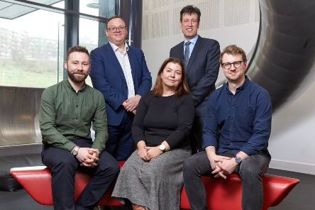 Left to right: Patrick Speedie (In-Part Publishing), Sean Hutchinson (British Business Bank),  Dr Nicola Broughton (Mercia), Will Clark (Mercia), Dr Robin Knight (In-Part Publishing) Picture: Shaun Flannery/shaunflanneryphotography.com