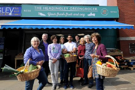 The Headingley Development Trust is pictured outside the new shop. PIcture by Simon Hulme.