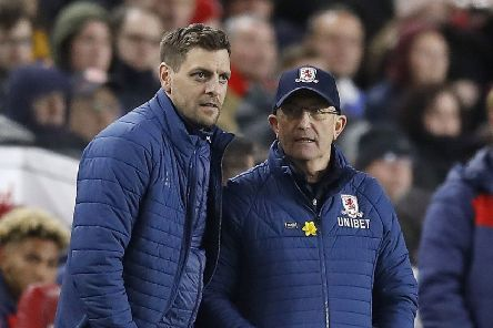 IN THE FRAME: Jonathan Woodgate, left, is among the front-runners to replace Middlesbrough manager Tony Pulis, right. Picture: PA