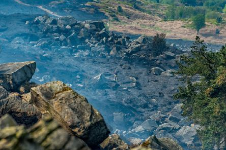 Firefighters tackle fires on Ilkley Moor.