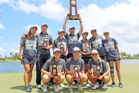 Skipton's Lucy Eaton, front left, with her Florida Tech team-mates after victory in the NCAA finals in Florida.