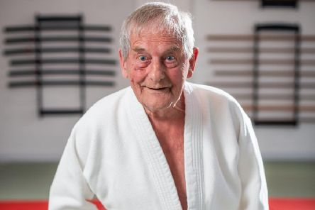 Bill Root, 90, is Britain's oldest judo master. PIC: SWNS