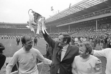Wembley winners: Leeds United manager Don Revie lifts the FA Cup after his side beat Arsenal in 1972. Picture: Getty Images