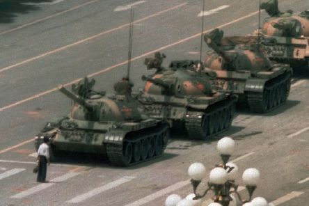 The famous image of a lone protester in Tiananmen Square on June 5, 1989. (AP Photo/Jeff Widener).