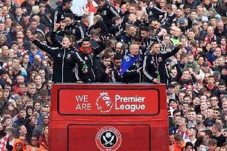 The Sheffield United players and manager Chris Wilder wave to the fans during the promotion parade in Sheffield City Centre following their promotion to the Premier League. Picture by Danny Lawson/PA Wire.