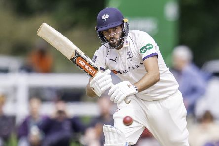 Yorkshire's Jack Leaning hits out on his way to a half-century against Warwickshire.