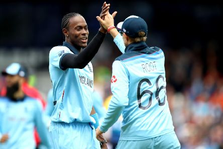 England's Jofra Archer (left) celebrates with Joe Root after taking the wicket of Sri Lanka's Dhananjaya de Silva at Headingley. Picture: Tim Goode/PA