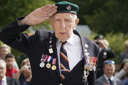 D-Day veteran Reg Charles, aged 96, the last surviving member of the heroic glider assault on Pegasus Bridge salutes during a memorial ceremony at the Pegasus Bridge Museum on June 05, 2019 in Caen, D-Day Marie Scott was a 17-year-old D-Day switchboard operator at Southwick House, Operation Overlord HQ in Portsmouth. Veterans, families, visitors and military personnel are gathering in Normandy on June 6th to commemorate the 75th anniversary of the invasion, which heralded the Allied advance towards Germany and victory about 11 months later.