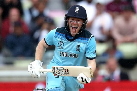 England's Eoin Morgan celebrates hitting the winning runs during the ICC World Cup, Semi Final at Edgbaston, Birmingham. (Picture: Nick Potts/PA Wire)