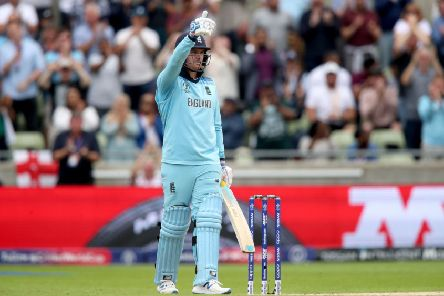England's Jason Roy celebrates getting 50 runs during the ICC World Cup, Semi Final at Edgbaston, Birmingham (Picture: Nick Potts/PA Wire)