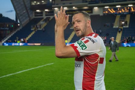 Danny McGuire applauds the fans at full time following his man-of-the-match performance against Leeds Rhinos for Hull KR.