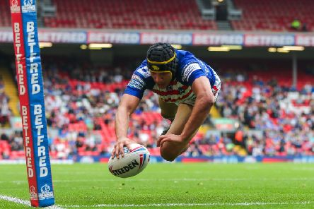 Wakefield's Ben Jones-Bishop scores a try against Catalans at Magic Weekend (PIC: Alex Whitehead/SWpix.com)