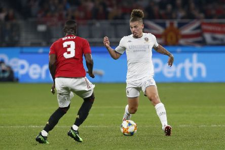Leeds United Kalvin Phillips battles for possession with Manchester United's Eric Bailly in Perth. Picture: Theron Kirkman/Sportimage
