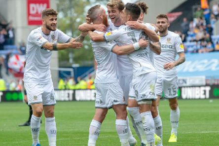 On target: Patrick Bamford celebrates his opening goal.  Picture: Bruce Rollinson