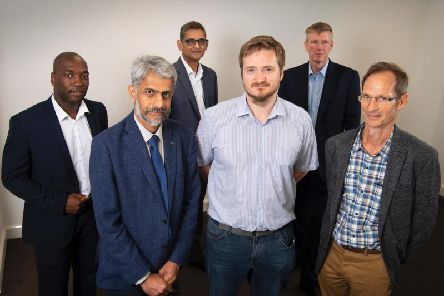 Front, left to right, are Professor Gin Jose, Dr Matthew Murray and Chris Brill of Optimus Vitrum, and back, Maurice Disasi of Mercia, Dr Arshad Mairaj of the University of Leeds and Ken Cooper of the British Business Bank. Picture: Simon Vine