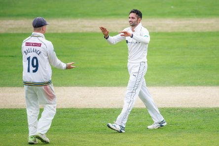 MISSING COG: Yorkshire's Keshav Maharaj celebrates the wicket of Nottinghamshire's Joe Clarke at Scarborough. Picture by Allan McKenzie/SWpix.com