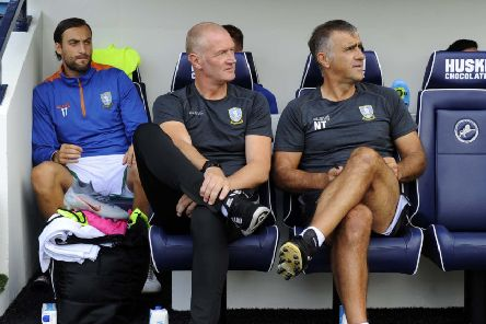 Sheffield Wednesday caretaker boss Lee Bullen sits alongside assistant Neil Thompson during the reecnt game at Millwall. Picture: Steve Ellis