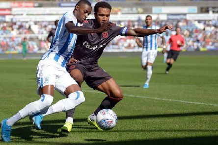 Town's Adama Diakhaby attacks the Reading defence. Picture: Graham Crowther