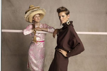 """Stella Tennant and her youngest daughter Iris, styled by Bay Garnett, photographed by Tom Craig for Oxfam's Second Hand September. """"I love Oxfam because it does two things at once: It gives clothes a new life and it helps the poorest people in the world,"""" says Stella."""