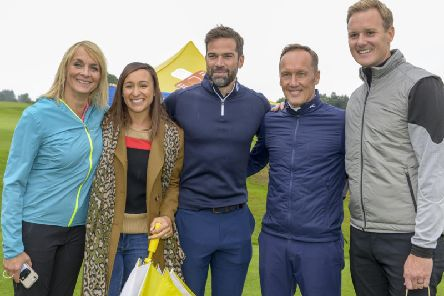 Louise Minchin, Jessica Ennis-Hill, Gethin Jones, Lee Dixon and Dan Walker get ready to compete in the Dan Walker Cup. Picture: Dean Atkins Photography