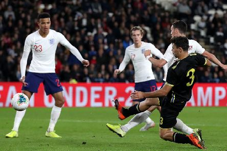 Phil Foden scores his second goal for England U21s.