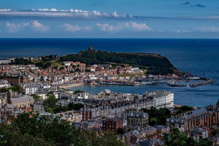 A magnificent view across Scarborough from the top of Oliver's Mount.
