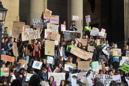 Students and young people take part un the the first ever UK-wide Youth Strike 4 Climate,  protest in Leeds at Leeds Town Hall in February. Picture Tony Johnson.