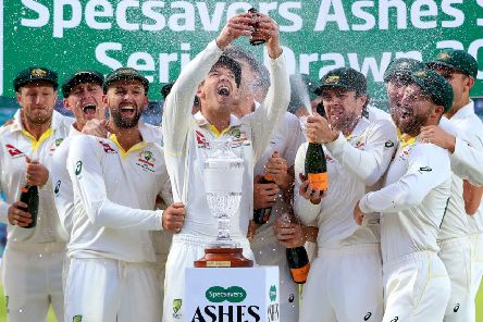 Australia players celebrate retaining the Ashes.