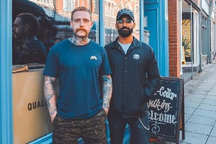 Barbers Sandy Minto (left) and Usama Rafique