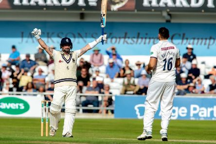 JUST FOR STARTERS: Darren Stevens celebrates reaching his hundred for Kent against Yorkshire at Headingley on Monday - going on to score 237. 'Picture: Bruce Rollinson