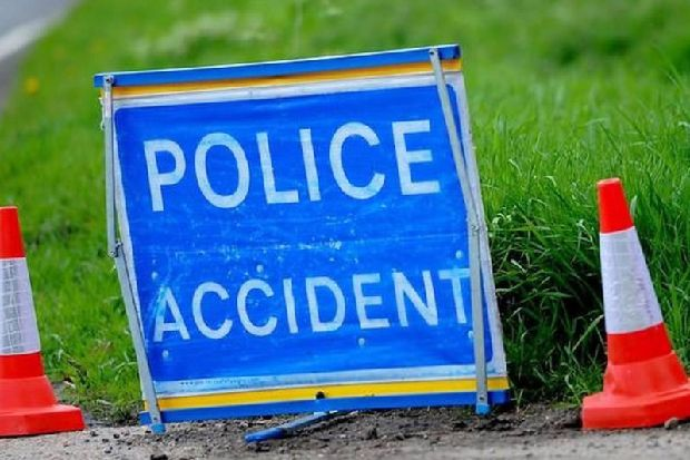 Serious car crash closes road as VW Golf flips onto its roof and driver taken to hospital